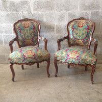 Antique French Chairs Louis XVI Arm 2 Chairs Rococo Baroque Interior Design New UpHolstery Double Piping Green Fuschia Blue Gold Yellow