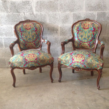 Antique French Chairs Louis XVI Arm 2 Chairs Rococo Baroque Inte