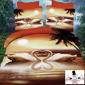3D Bed Set Swan Lake Sunset Bedding Set and Quilt Cover