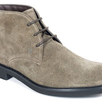 Tod's Men's Olive Grey Leather Desert Ankle Boots
