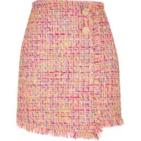 Pink check boucle button mini skirt - Mini Skirts - Skirts - women