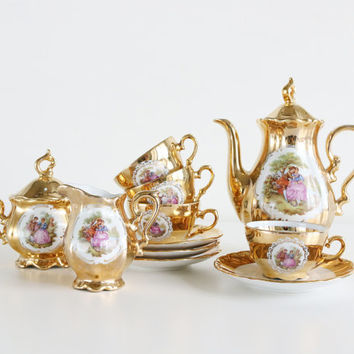 Rare Antique Victorian Demitasse Tea Or Coffee Mixed Set Bavaria Handarbeit 22K Gold Schumann Arzberg And Horst Kuba Germany/Wedding Gifts