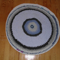"ON SALE""""""""Rag Rug Crocheted Upcycled/round floor mat made from upcycled tshirts-90cm"