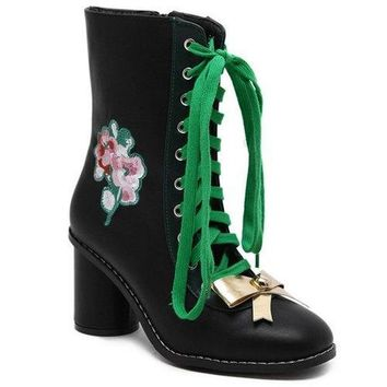 Lace-Up Metallic Bow Floral Embroidery Short Boots - Black 39