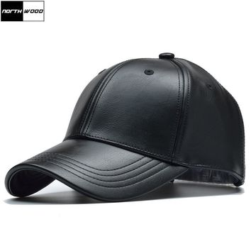 Trendy Winter Jacket [NORTHWOOD] Solid Winter Leather Baseball Cap Men Branded Snapback Autumn Warm Black Cap Women Bone Masculino Mens Caps and Hats AT_92_12