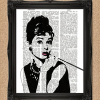 Audrey Hepburn Print Dictionary Page Portrait Style 8x10 Upcycled Book Page Wall Art Decor Original Print Artwork A136