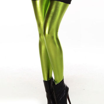 Fruit Green Shiny Metal Leggings
