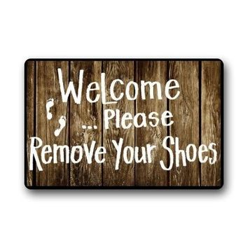 Autumn Fall welcome door mat doormat s Custom Funny Words Take Your Shoes off Please Indoor/Outdoor  Indoor/Outdoors x Decor Mat Rugs 23.6x15.7 Inch AT_76_7