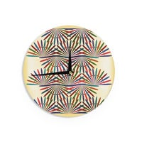 """Famenxt """"Colorful Abstract Pattern"""" Yellow Multicolor Wall Clock"""
