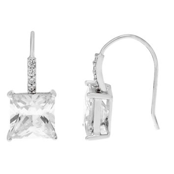 Sterling Silver Princess Cut Cubic Zirconium Fish Hook Earrings