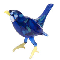 Glass Blue Bird Hand-Blown  Figurine