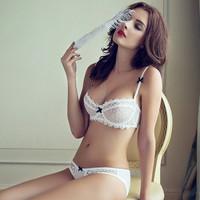 thin transparent hollow lace bra set satin underwear intimate soft cup rhinestone buckle tempting lingerie sexy bra set