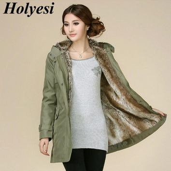 Holyesi Women Winter Coat Thick Warm Faux Fur Lining Hoodies Cotton Long Slim Parka Lady Plus Size Casual Outwear Thermal Jacket