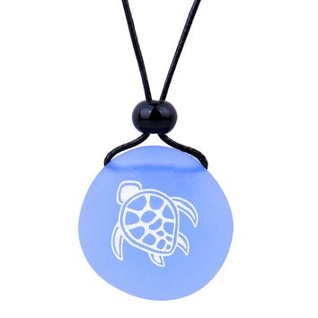 Amulet Frosted Sea Glass Stone Adorable Magic Turtle Good Luck Powers Sky Blue Adjustable Necklace