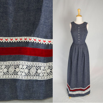 Sweet Vintage 70s Denim Holiday Maxi Dress S Red Velvet Ribbon and Lace trim