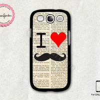 I Love Mustache Samsung Galaxy S3 Case, Samsung Galaxy SIII Case, Samsung Galaxy S3 Cover, Hard Protective Case