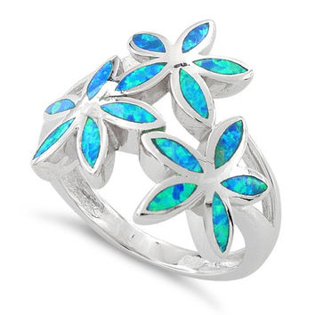 Sterling Silver Created Blue Opal Daisy Flower Ring