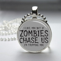 Photo Art Glass Bezel Pendant Zombie Necklace