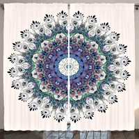 GLAMNYC Boho Peacock Mandala Window Curtain Panel SET