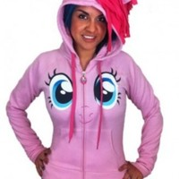 My Little Pony Pinkie Pie Face Juniors Pink Costume Hoodie with Mane