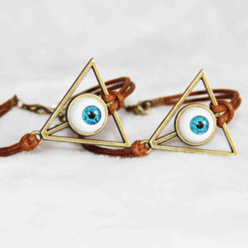 The Deathly Hallows bracelet anklet bronze alloy blue eyeball cotton wax cord summer trending simple fashion friendship graduation gifts