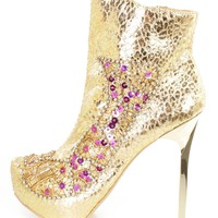 Gold Rhinestone Sequin Beaded High Heel Booties Faux Leather