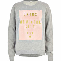 GREY BRONX NEW YORK PRINT SWEATSHIRT