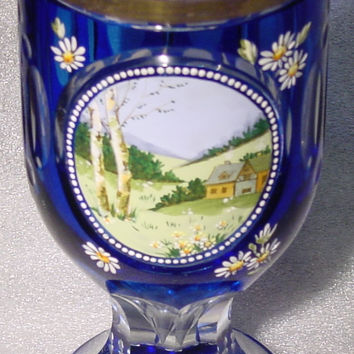 999276 Blue Cased Glass With Cutting Around & Painted Farmhouse & Hills In Cut Circle, Cutting Around Bottom, And On Base, Gold Rim
