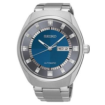 Seiko Mens Recraft Automatic Day/Date Watch - Blue / Gray Dial - Bracelet