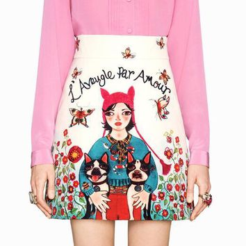 GUCCI Fashion Women Personality Girl With Dogs Cartoon Print A -Line Skirt
