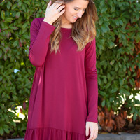 Ruffle Along The Bottom Dress - Burgundy