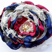 Navy Blue and Red Flower Accessory,Wedding Hair Flower, Bridal Sash, Maternity Sash, Bridal Hair Piece, Fourth of July Flower
