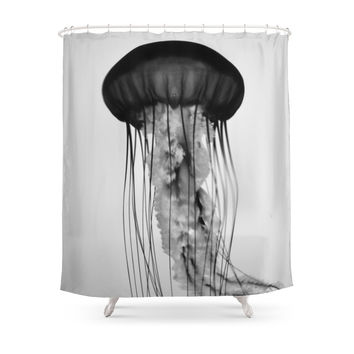 Society6 Jellyfish Black And White Shower Curtains