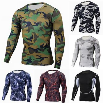 Swagger Dynasty Fitness Men Long Sleeve Clothes Muscle Bodybuilding Blouse Tight-drying Tops
