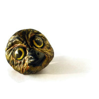 Golden Owl Brooch Hand Sculpted Hand Painted OOAK Paper by BeMyBee