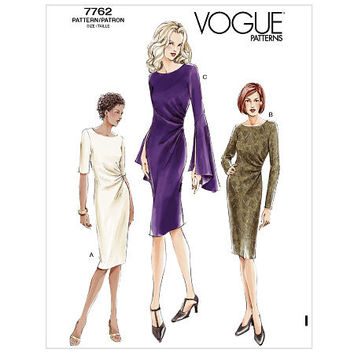 COCKTAIL EVENING DRESS Pattern Asymmetrical Side Pleats Bell Sleeves Vogue 7762 Women's Sewing Patterns Bust 34 36 38 Size 12 14 16