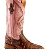 Ferrini Blush Pink Caiman Belly Cowgirl Boots - Wide Square Toe - Sheplers