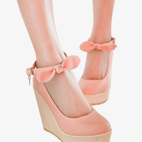 Sweet Bow Wedges In Pink