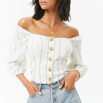 Off-the-Shoulder Button-Front Top