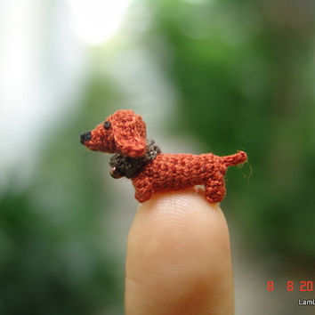 0.4 inch miniature brown Dachshund dog - Micro amigurumi crochet animal