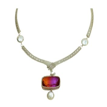 Ariel Silver, Pearl and Ametrine Statement Necklace
