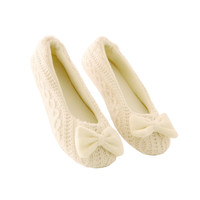 Cute Knitted Shoes Soft Sole Bowtie Crochet Indoor Casual Slippers Home Shoes Dancing Yoga Shoes Women floor socks