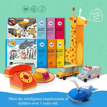 3D Children Craft Toys Paper Model Book Arts & Crafts Stickers DIY Game Handmade Animals Accessories Kitchen Girls Toys For Kids