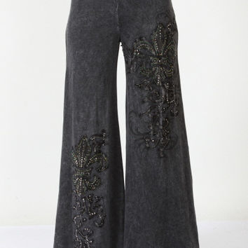 Eliza Bella for Vocal Mineral Washed Black Wide Leg Bell Bottom Pants