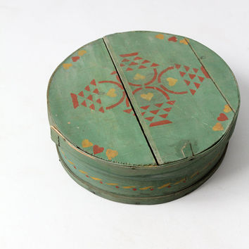 antique painted wood cheese box
