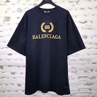 BALENCIAGAG Summer Classic Popular Women Men Casual Print Round Collar T-Shirt Top Navy Blue