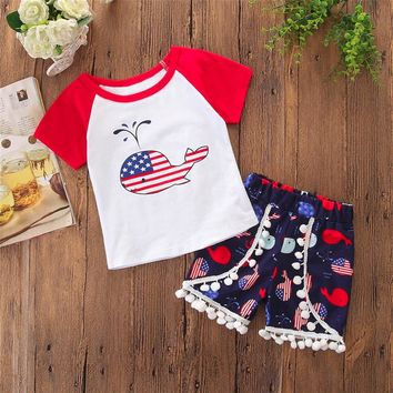 Whale Flag Outfit Pom Raglan Top And Shorts