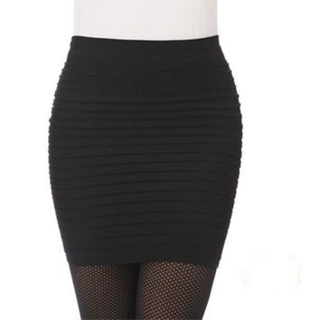 Hot New Fashion Women Ladies Sexy Pencil Skirt Seamless Elastic Pleated High Waist Slim Mini Skirts For Office Party Cheap Z1