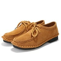 Suede Pure Color Flat Lace Up Soft Oxford Shoes