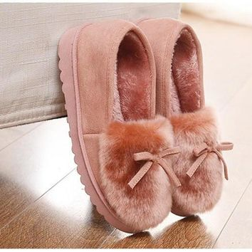 Winter Women House Slippers Fur Peas Warm Indoor Slippers Home Shoes Zapatillas Casa M